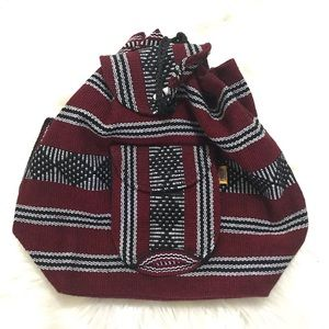 Mexican Woven Bag Backpack Red Hippie Boho Aztec